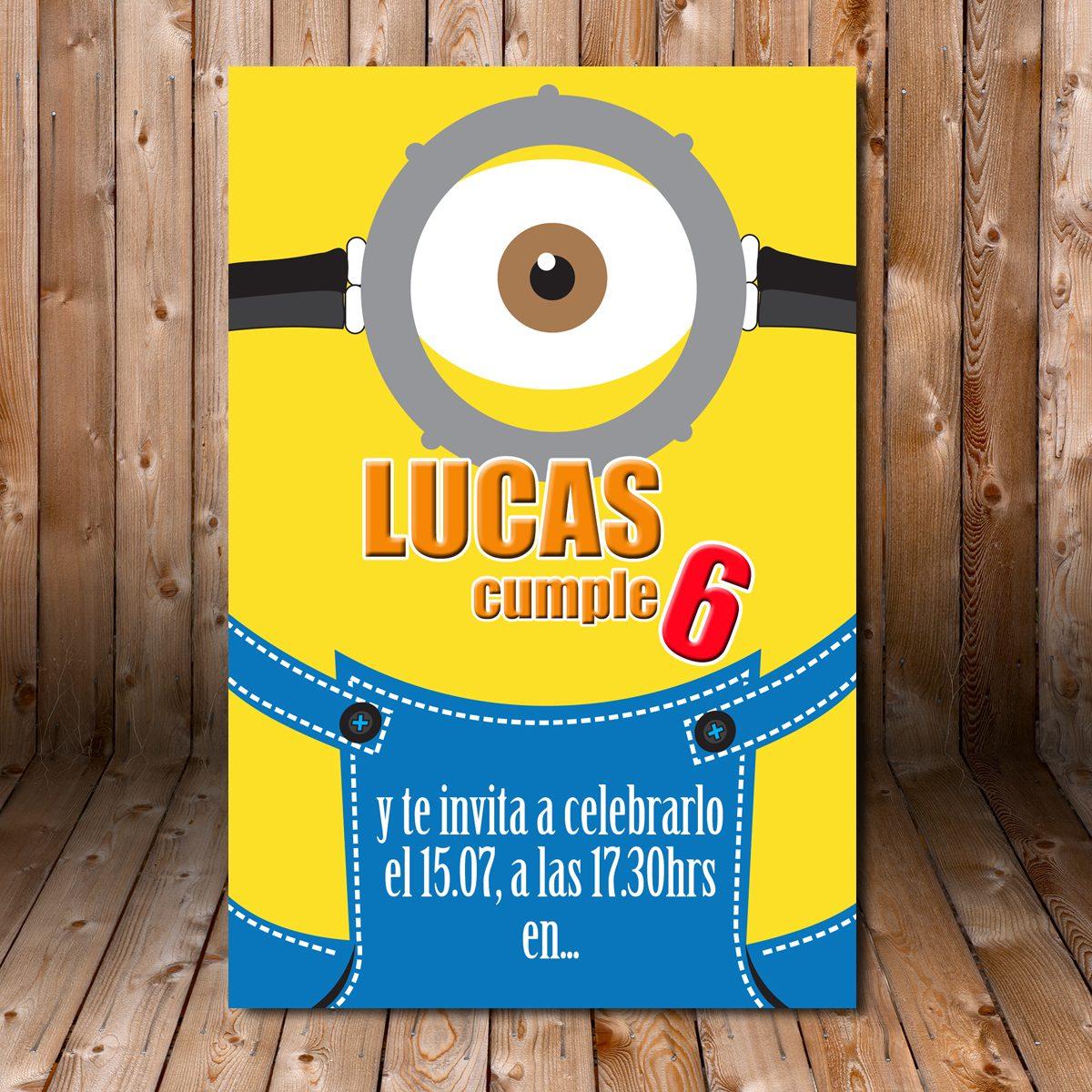 Tarjeta De Invitacion Cumpleaños Imprimible Minions