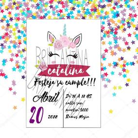 Tarjeta De Invitacion Cumpleaños Unicornio Para Imprimir