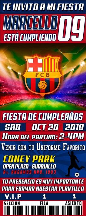 Tarjeta De Invitación Digital Futbol Soccer Barcelona Messi