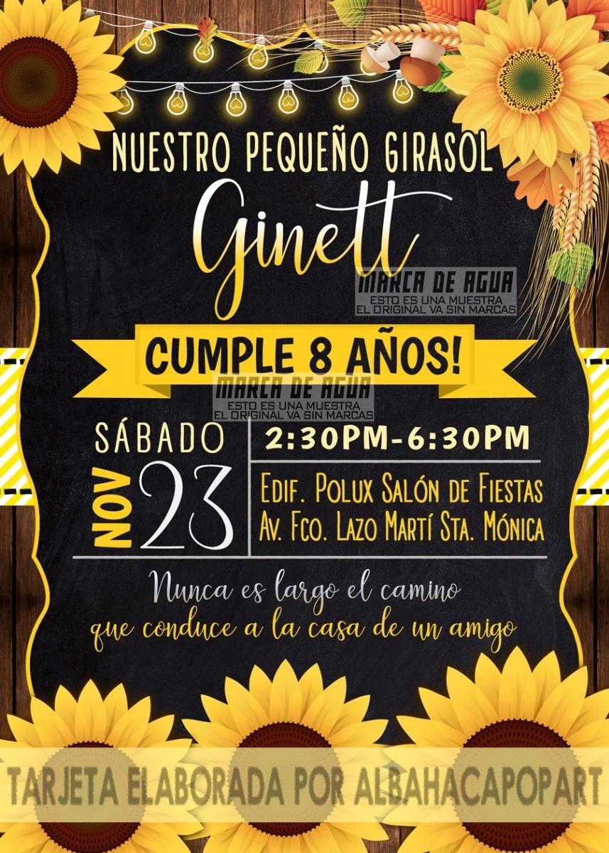 Tarjeta De Invitación Digital Girasoles 15 Años Bautizo Boda