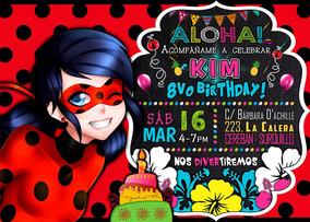 Tarjeta De Invitación Digital Ladybug Coquito Miraculous