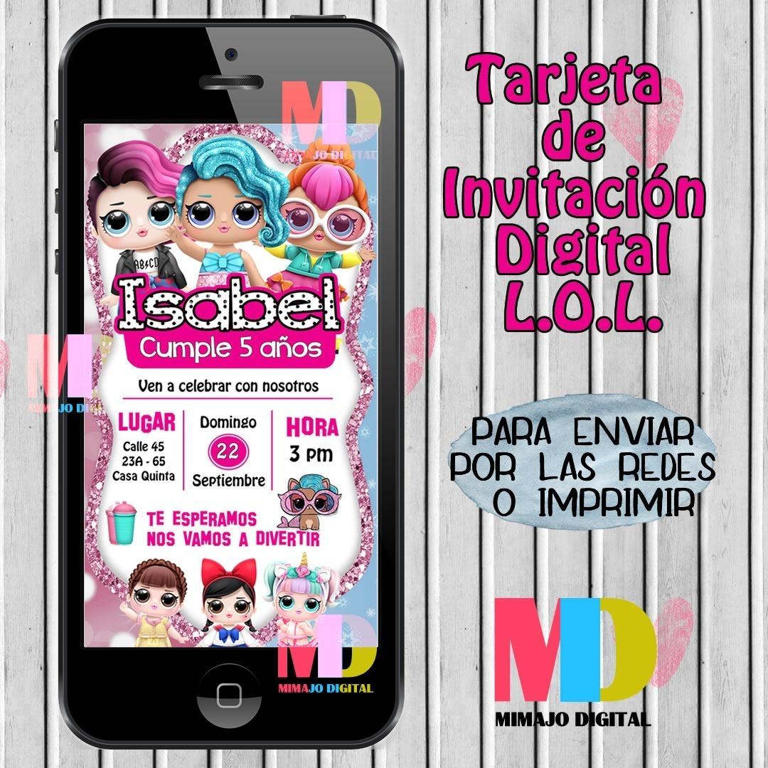 Tarjeta De Invitación Digital Lol Para Cumpleaños