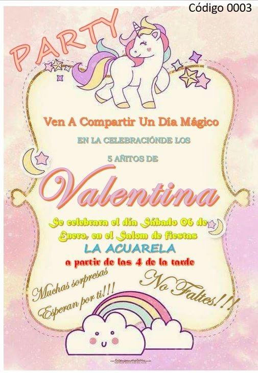 Tarjeta De Invitación Digital O Para Imprimir Unicornio