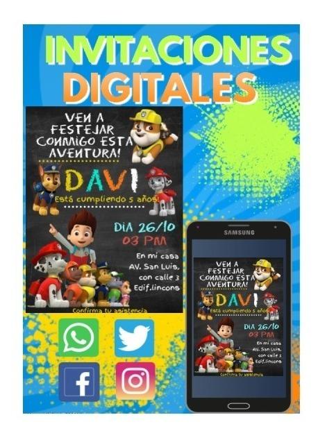 Tarjeta De Invitación Digital Paw Patrol Cumpleaños Niño