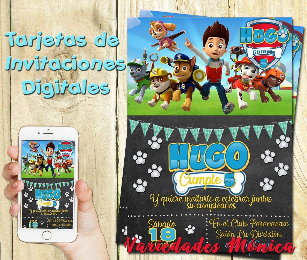 Tarjeta De Invitación Digital Paw Patrol Personalizadas