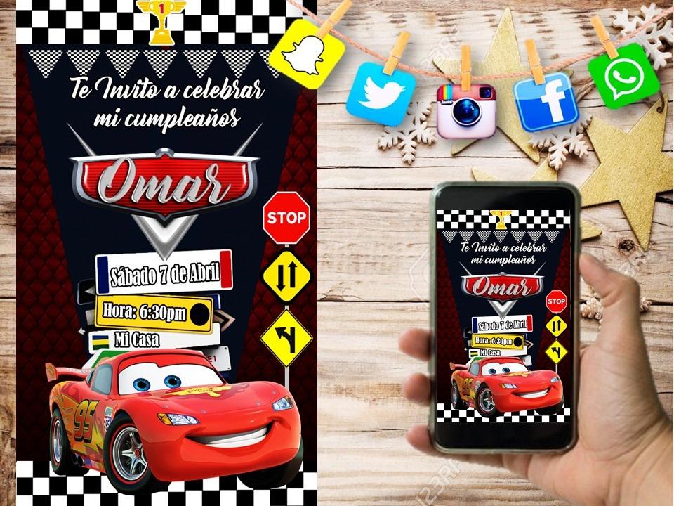 Tarjeta De Invitacion Digital Personalizada Cars Oferta