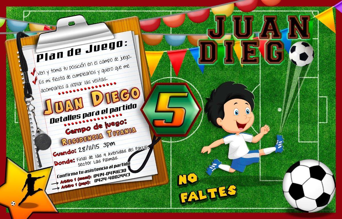 Tarjeta De Invitación Digital Personalizada Futbol