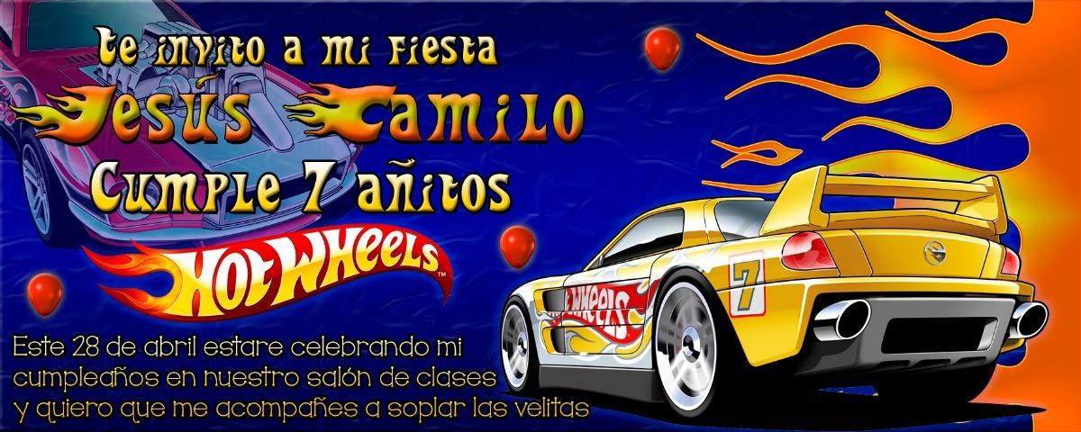 Tarjeta De Invitación Digital Personalizada Hot Wheels