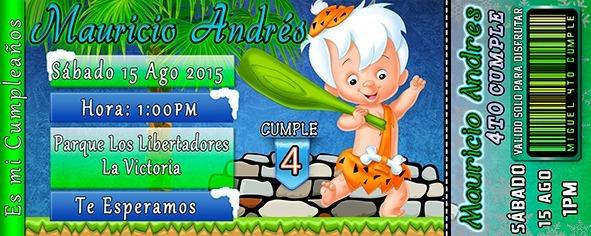 Tarjeta De Invitación Digital Personalizada Picapiedras Bam