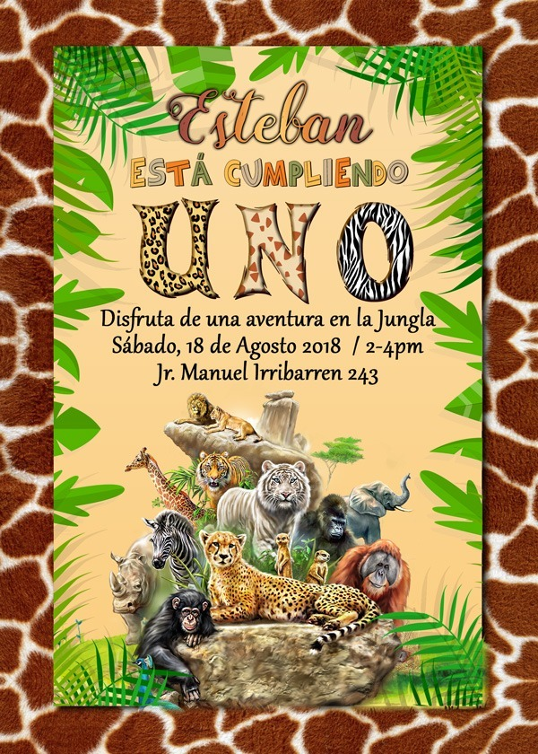 Tarjeta De Invitación Digital Personalizada Safari Animales