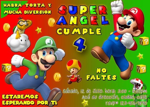 Tarjeta De Invitación Digital Personalizada Super Mario Bros