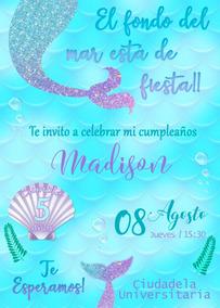 Tarjeta De Invitación Digital Personalizadas Sirena Mermaid