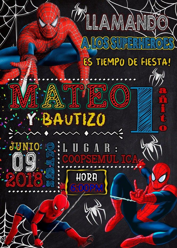 Tarjeta De Invitación Digital Spiderman Hombre Araña