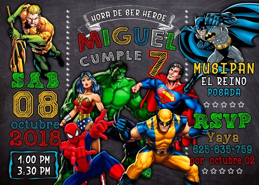 Tarjeta De Invitación Digital Super Héroes