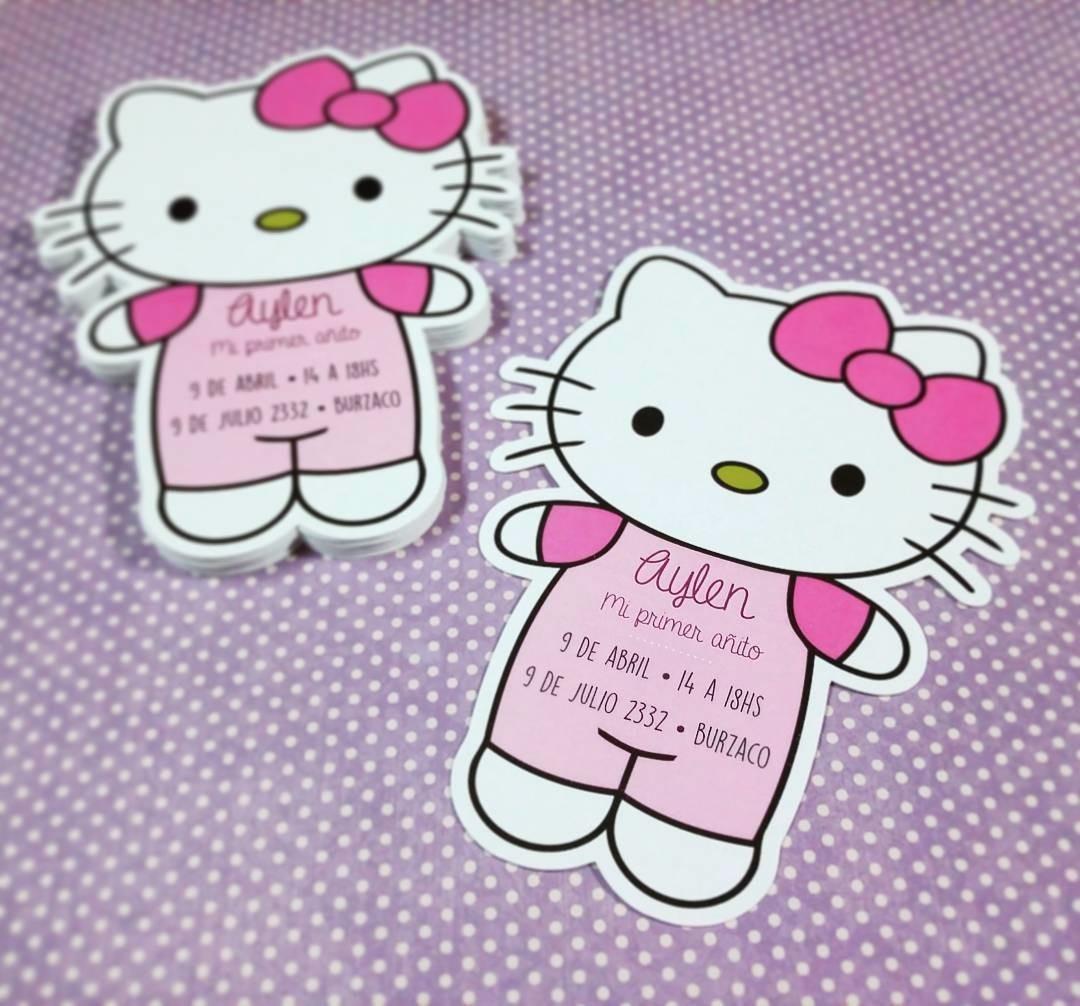 Tarjeta De Invitación Hello Kitty Calada Corte Láser