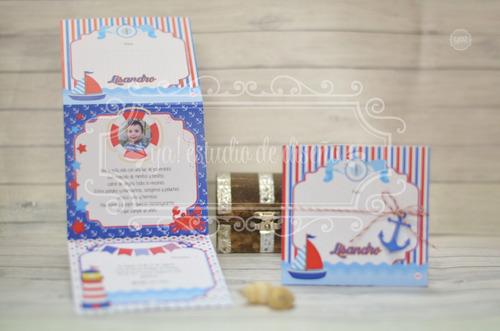 tarjeta de invitacion marinero 10x29cm vertical c/foto