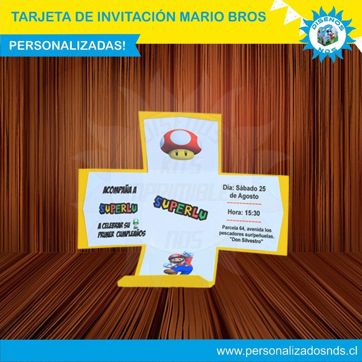 Tarjeta De Invitacion Mario Bros Caja Explosion - $ 1.800 en Mercado ...
