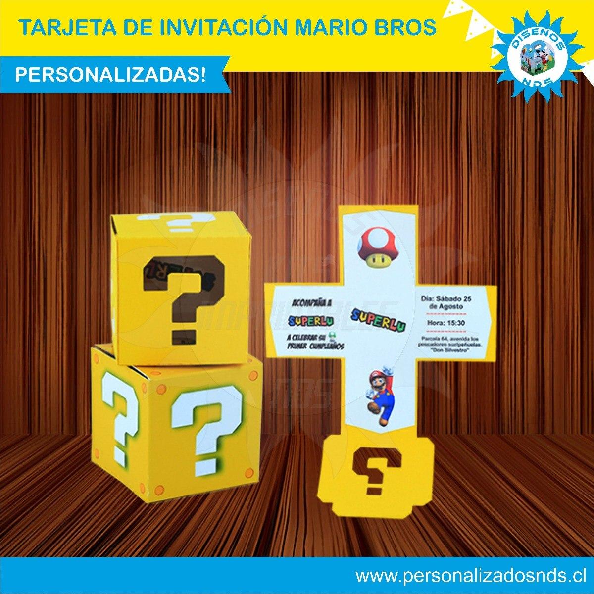 Tarjeta De Invitación Mario Bros Personaliazada Caja Explosi