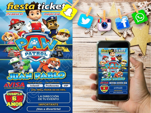 tarjeta de invitacion paw patrol personalizada digital