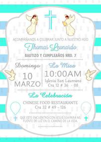 Tarjeta De Invitación Personalizada Bautizo Y Baby Shower