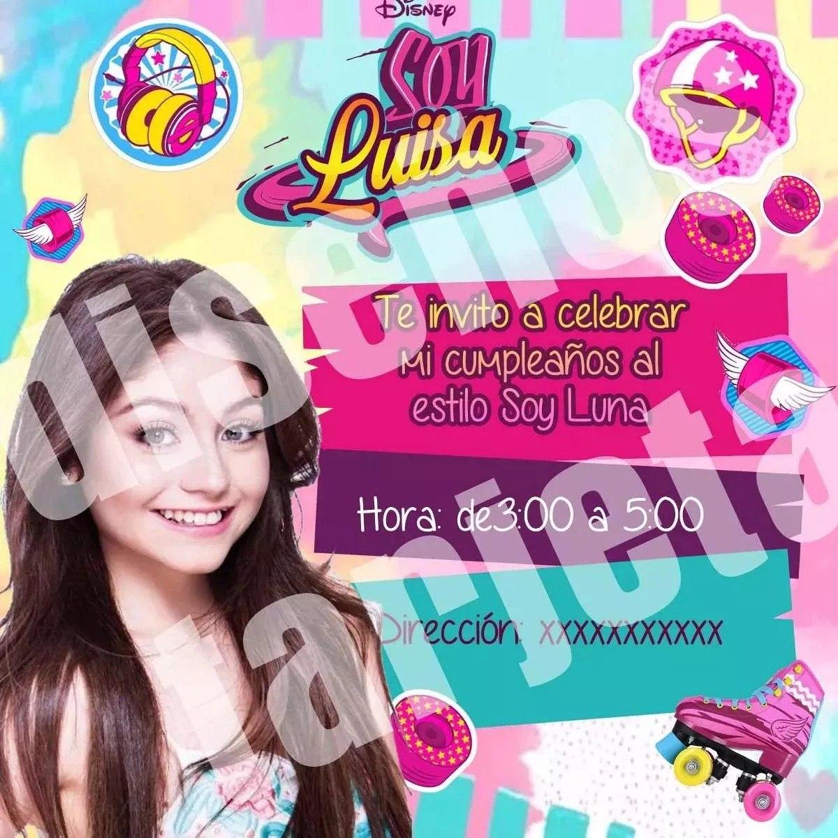 Tarjeta De Invitacion Soy Luna Personalizada Imprimible