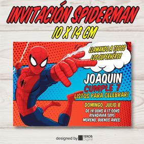Tarjeta De Invitacion Spiderman Hombre Araña Pack X30 Uni