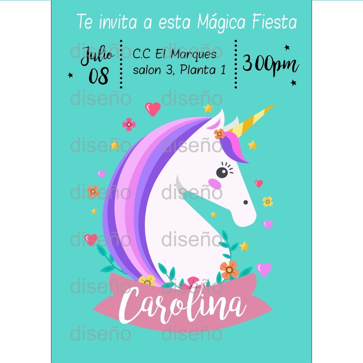Tarjeta De Invitación Unicornio Personalizada