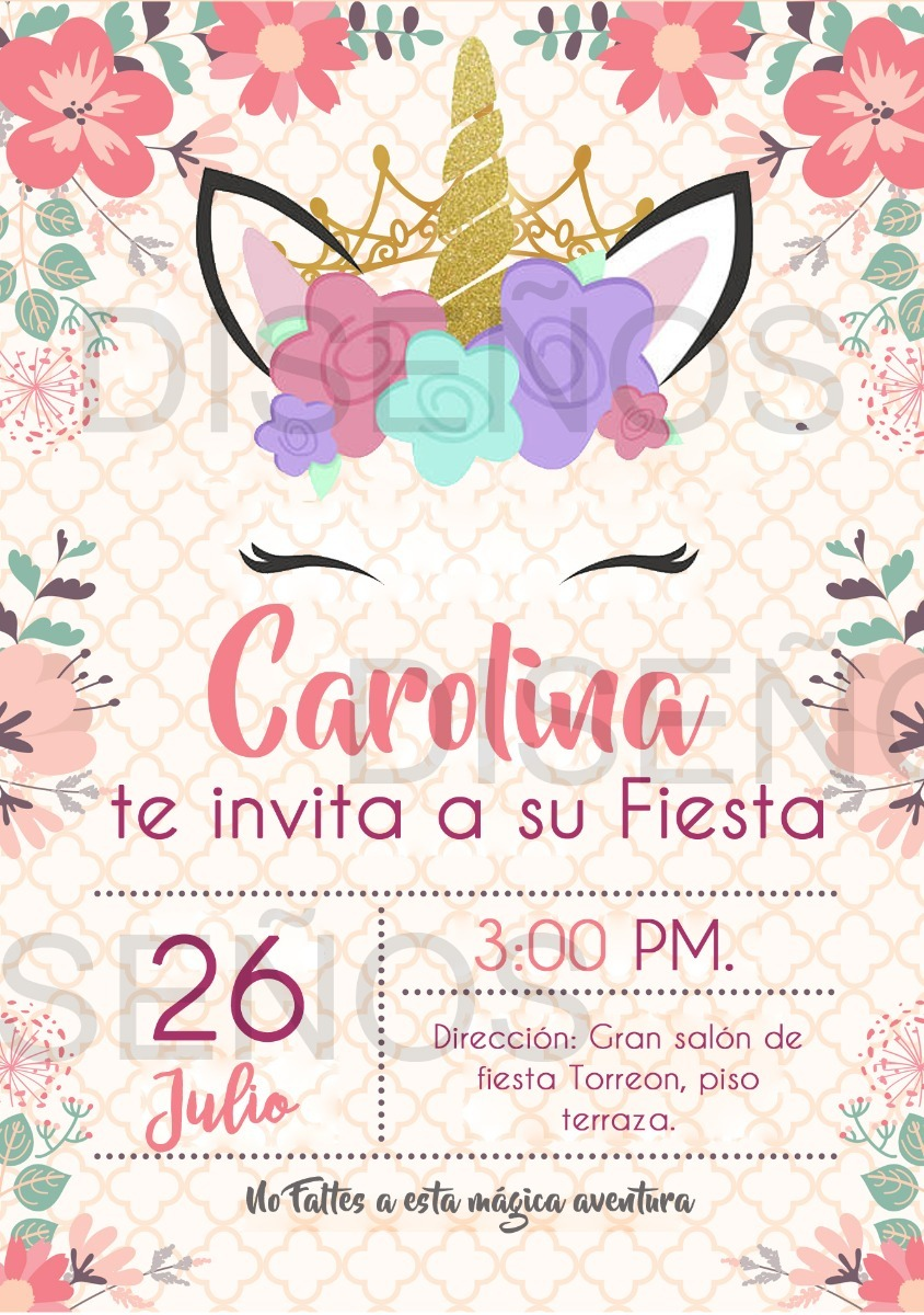 Tarjeta De Invitacion Unicornio Personalizada 4 500 En