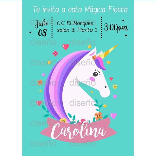tarjeta de invitacion unicornio personalizada digital