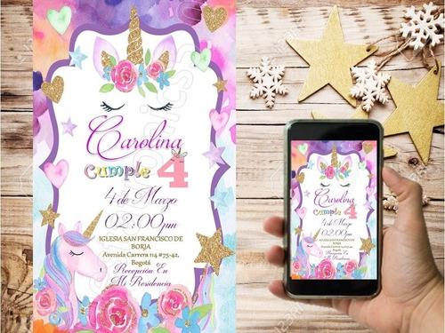 tarjeta de invitacion unicornio personalizada digital oferta