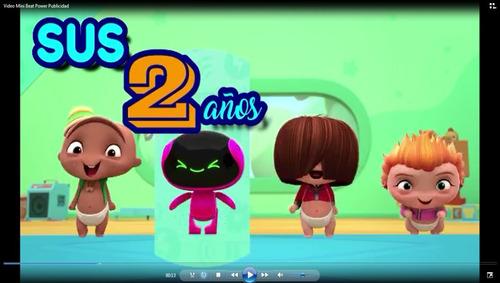 tarjeta de invitación vídeo animado mini beat power rockers