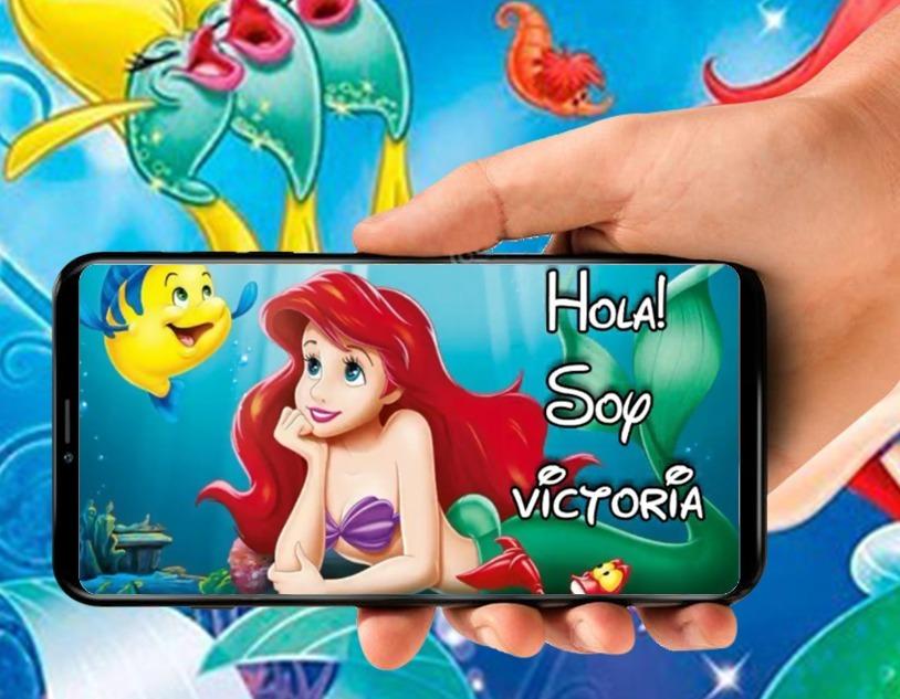 Tarjeta De Invitacion Virtual Video De La Sirenita Ariel