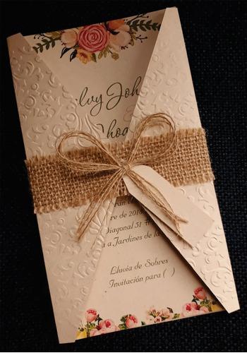tarjeta de matrimonio - 15 años vintage - con faja de yute