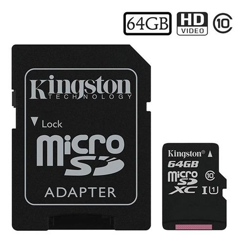 tarjeta de memoria kingston micro sd 64gb clase 10 adaptador
