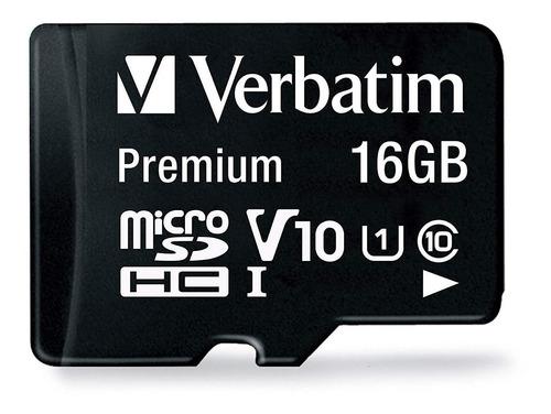 tarjeta de memoria micro sd 16gb verbatim - clase 10 80 mb/s