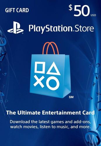 tarjeta de recarga 50 usd playstation store - ps3 ps4 psvita