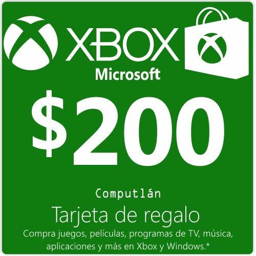 tarjeta de regalo $200 xbox one 360 live - computlán