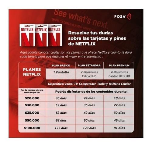 tarjeta de regalo pin virtual de netflix - saldo $20.000