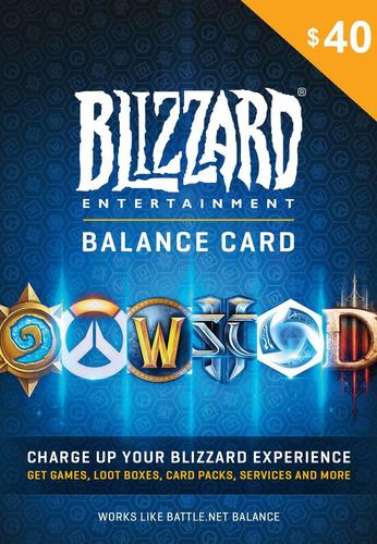 tarjeta de saldo battlenet 40 blizzard wow diablo overwatch