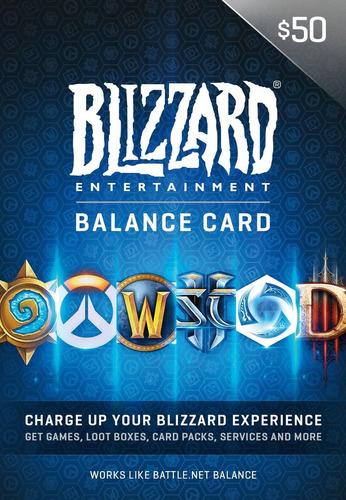 tarjeta de saldo battlenet 50 blizzard wow diablo overwatch