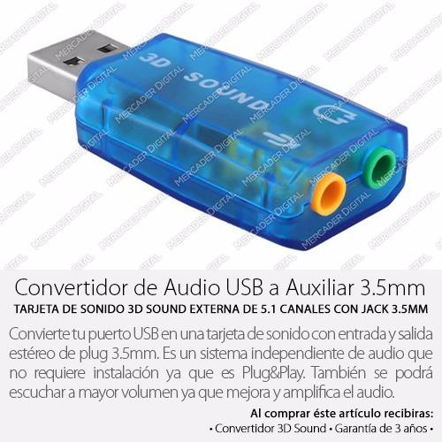 tarjeta de sonido usb 5.1 canales audio 3d salida y entrada