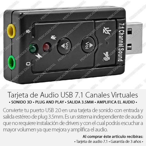 tarjeta de sonido usb 7.1 canales audio 3d + envío gratis