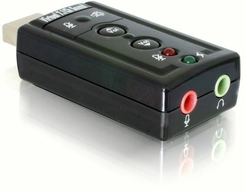tarjeta de sonido usb 7.1 con control de volumen en empaque
