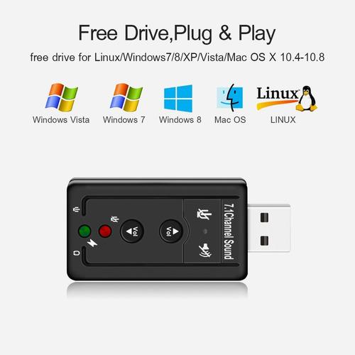 tarjeta de sonido usb audio 7.1 canales 3d virtual dj digita