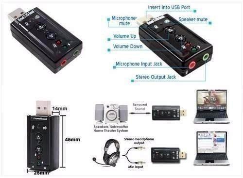 tarjeta de sonido usb externa para pc o laptop, 7.1 canales