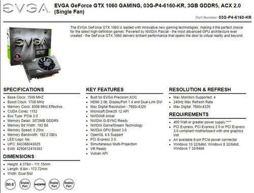 tarjeta de video evga geforce gtx1060 3gb nvidia gpu