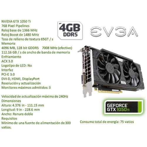 tarjeta de video evga gtx 1050ti 4gb gddr5 pci-e nueva bagc