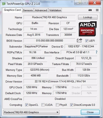 tarjeta de video gamer ddr5 amd rx460 nitro 4gb 128bit