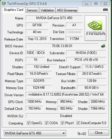 tarjeta de video geforce gts 450 1gb ddr5 128 bits