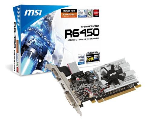 tarjeta de video msi r6450-md1gd3/lp radeon hd 6450 1gb ddr3